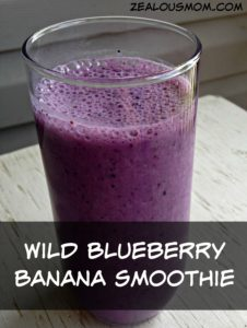 Do you love smoothies, espcially one that's packed with nutrients and antioxidants? Try this simple-to-make wild blueberry banana smoothie. So yummy! #glutenfree #smoothie #wildblueberries @zealousmom.com